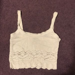 Joule white crop tank vintage lacy shimmery